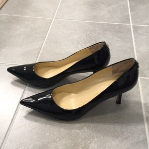Navy patent leather high heels